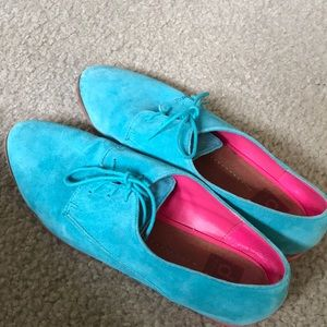 Turquoise suede shoes